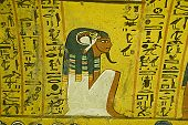 stock photo of horus  - Ancient Egyptian wall painting of the god Horus sitting beside the deceased noble Irynefer.  Tomb TT290 in Deir el Medina, Luxor, Egypt.