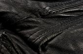 Old Vintage Genuine Soft Black Leather Texture Background, Top Layer With Pores And Scratches, Macro poster