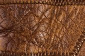 Old Vintage Genuine Soft Brown Leather Texture Background, Top Layer With Pores And Scratches, Macro poster