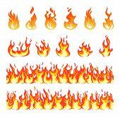 Fire Flame. Burning Firex Seamless Border, Cartoon Style Blazing Campfire. Fiery Effect And Differen poster