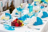 Blue-white Wedding Table Setting