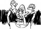 Cartoon Sketch Of Scared Man