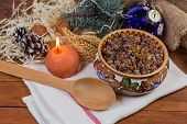 Christmas Kutia - Slavic Traditional Holiday Grain Dish Made Of Wheat Grains, Poppy Seed, Nuts, Rais poster