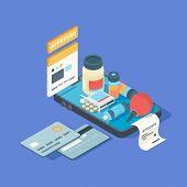 Medical App. Smartphone Screen With Online Order Medical Pills Drugs Med Clinic Connection Online Ve poster