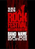 Rock festival design template with bass guitar and place for text.