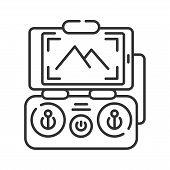 Drone Control Smartphone Black Line Icon. Mobile App Quadcopter Remote Control. Online Service For A poster