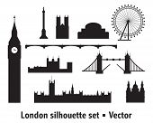 Vector Set Of  Landmarks Of London. City Skyline Vector Illustration In Black Colors Isolated On Whi poster
