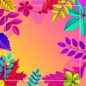 Spectrum Autumn Background With Beautiful Color Leaves. Vector Ard Or Poster Template. poster