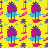 Tropical Summer Vacation - Decorative Banner. Travel Seamless Pattern. Holiday Paradise Coast Beach  poster