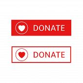 Donate Button Icons. Red Buttons With Heart Symbol For Your Website, Philanthropy, Charity And Volun poster