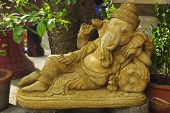 Golden Statue Of Ganesha - The Elephant Headed God Of Luck And Prosperity