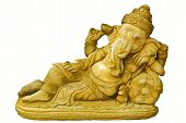 Oro dios hindú Ganesh sobre un fondo blanco