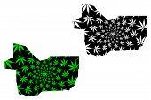 Gao Region (regions Of Mali, Republic Of Mali) Map Is Designed Cannabis Leaf Green And Black, Gao Ma poster