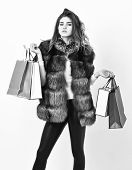 Girl Makeup Furry Coat Shopping White Background. Woman Shopping Luxury Boutique. Lady Hold Shopping poster