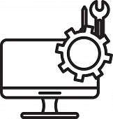 Black Line Computer Monitor With Screwdriver And Wrench Icon Isolated On White Background. Adjusting poster