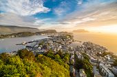 Sunset Over Alesund City From Aksla Viewpoint, Norway poster