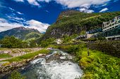 Geiranger Fjord, Norway - June,2019: Beautiful Nature Norway 15-kilometre Long Branch Off Of The Sun poster