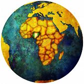 Nigeria Flag On Globe Map