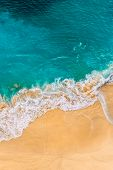 Beautiful Sandy Beach With Turquoise Sea, Vertical View. Drone View Of Tropical Turquoise Ocean Beac poster