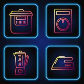 Set Line Electric Iron , Blender , Slow Cooker And Remote Control. Gradient Color Icons. Vector poster