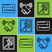 Set Line Towel Stack , Squeegee, Scraper, Wiper And Rubber Gloves Icon. Vector poster