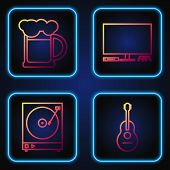 Set Line Guitar , Vinyl Player With A Vinyl Disk , Wooden Beer Mug And Video Game Console . Gradient poster