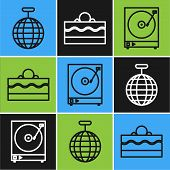 Set Line Disco Ball , Vinyl Player With A Vinyl Disk And Cake Icon. Vector poster