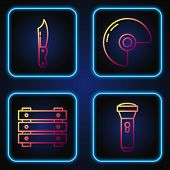 Set Line Flashlight , Military Ammunition Box, Military Knife And Military Helmet . Gradient Color I poster