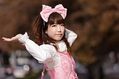 japanese cosplay in pink lolita