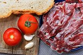 Iberian Ham With Tomato Bread And Garlic