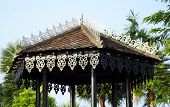 image of woodcarving  - Roof design with traditional Malay woodcarving facsia board - JPG