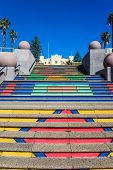 Cape Town is a fabulous port city on the shores of two oceans. Multi-colored staircase. Promenade an poster