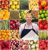 Composition of different fruits and vegetables and a smiling greengrocer