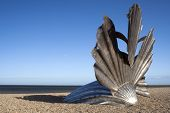 'Scallop' Sculpture By Maggie Hambling On Aldeburgh Beach, Suffolk, England