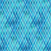 Watercolor Diagonal Stripe Plaid Seamless Pattern. Blue Teal Stripes Background. Watercolour Hand Dr poster