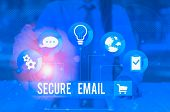 Writing Note Showing Secure Email. Business Photo Showcasing Protect The Email Content From Being Re poster