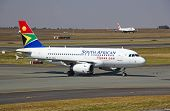 JOHANNESBURG - APRIL 18:Airbus A319 taxiing after landing on April 18, 2012 in Johannesburg, South A