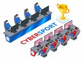 Isometric Cybersport Or Electronic Sports, E-sports, Or Esports, Sports Competition Using Video Game poster