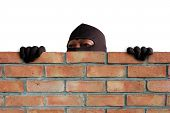Masked Thief Is Climbing The Wall To Steal Property In The House, Detecting Cctv Camera Surveillance poster