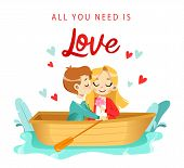 Lovers Cartoon Man And Woman Boating By The River. Warm Intimacy Young People. Manifestation Romance poster