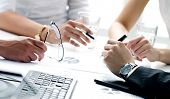 stock photo of business success  - Close up of working process at business meeting - JPG