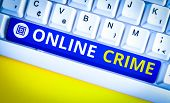 Handwriting Text Online Crime. Concept Meaning Crime Or Illegal Online Activity Committed On The Int poster