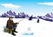 stock photo of ice fishing  - A man sits patiently on the ice as a fish toys with him - JPG