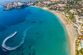Summer Vacation In Cyprus Island. Aerial View Of Bay With Jet Ski Rides On Sea Surface Leaving White poster