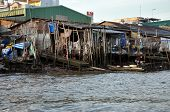 Shack home in the slum area of Mekong delta, Vietnam