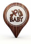 3d render of a symbol baby sign on a set of wooden  markers