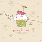 image of recipe card  - card with cupcake - JPG