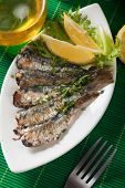 Grilled sardine fish with lemon and herbs