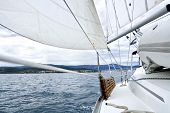 pic of sea-scape  - sea scape with modern yacht and sailing equipment - JPG