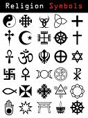foto of taoism  - Various religion symbol set in black and white - JPG